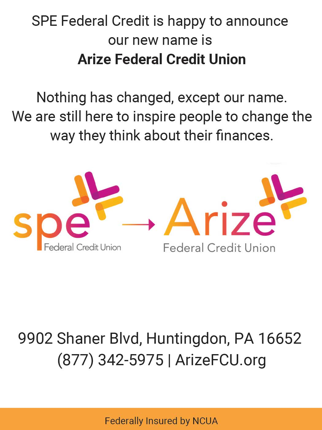 """<center>Arize Federal Credit Union 