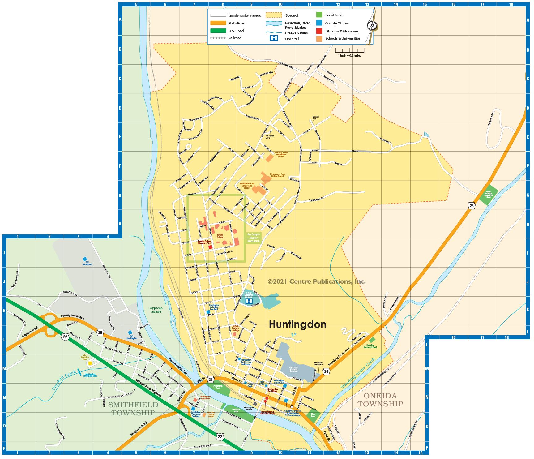 Huntingdon Borough Map