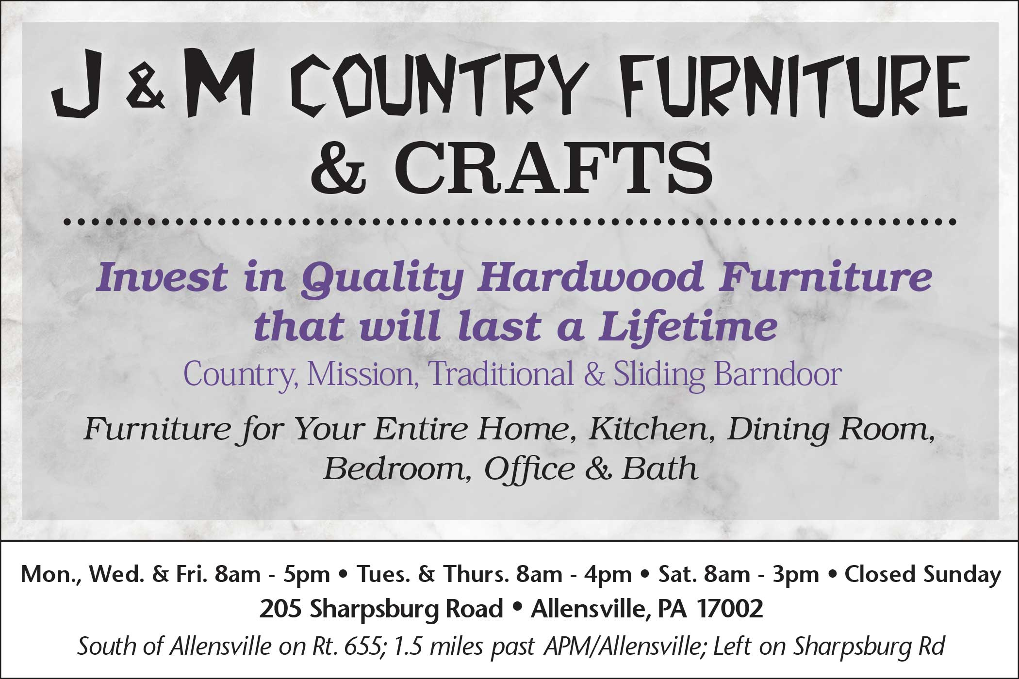 <center>J&M Country Furniture & Crafts</center>