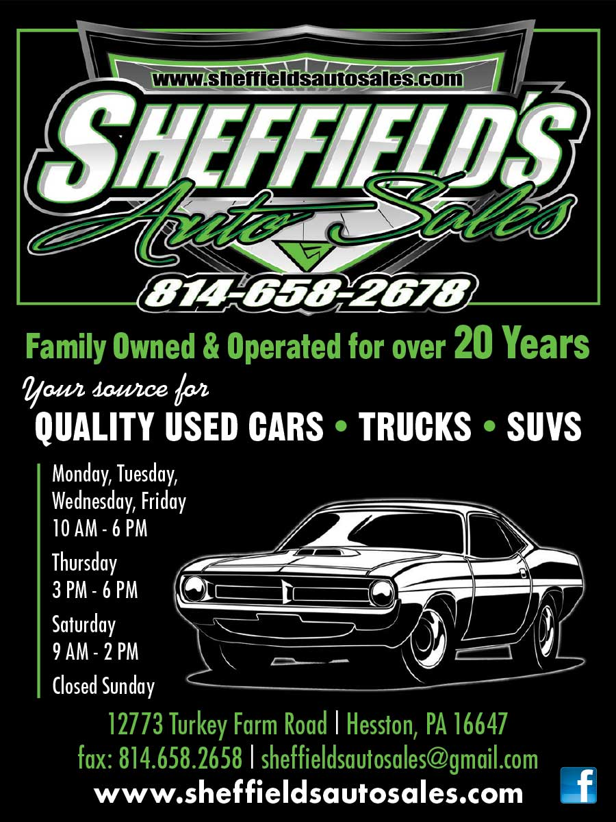 """<center>Sheffield's Auto Sales 